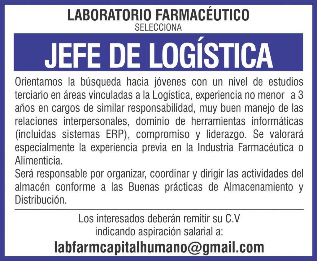 Buena oportunidad laboral en Laboratorio Farmacéut ...