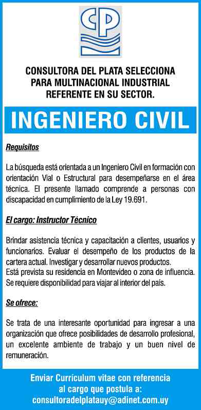 Atención oportunidad para Ingeniero Civil
