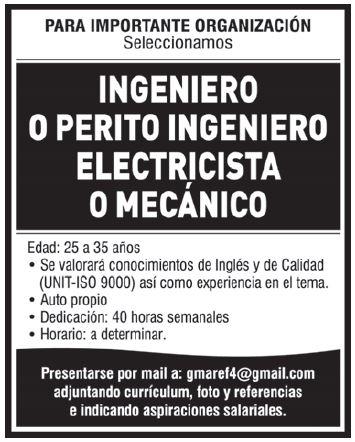 Oportunidad laboral para Ingeniero o Perito Ingeni ...