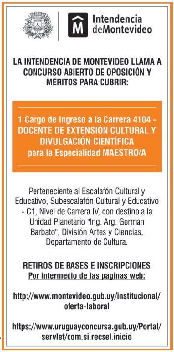 Oportunidad laboral en la Intendencia de Montevide ...